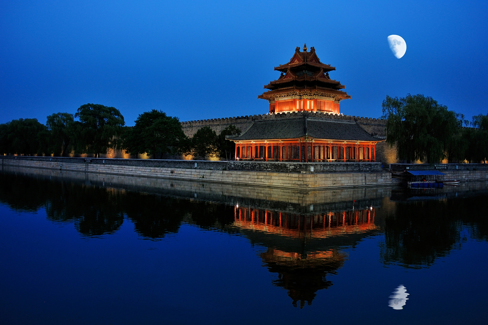 night scenery of Watchtower, Forbidden City_198749345