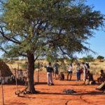 Tourists visit bushmen tribe village_395533111