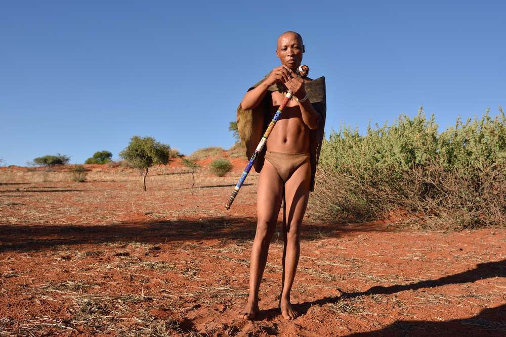 Bushmen hunter in the Kalahari desert_396769561