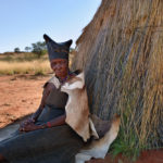 Portrait of very old Bushmen woman_384714400