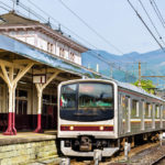 Local train at Nikko train station _442211224