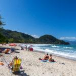 Ubatuba beach, north shore of Sao Paulo_413559244