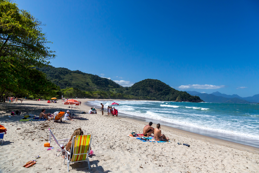 Ubatuba beach, north shore of Sao Paulo_413559244