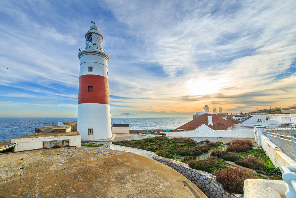 Europa Point lighthouse on a shore of Gibraltar_268608503