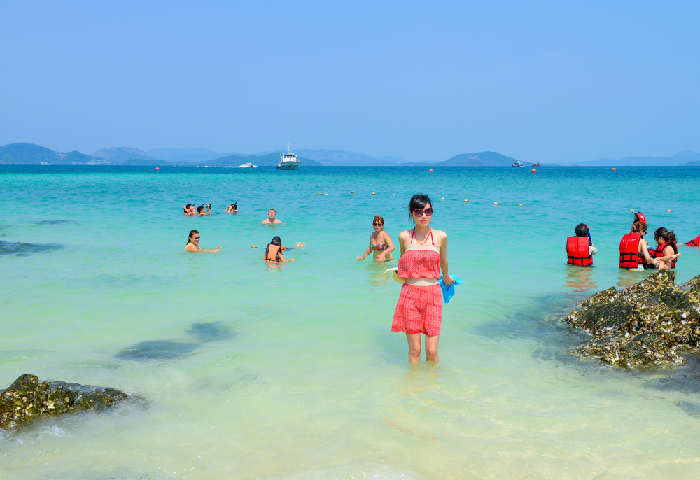 beach in summer at Khai Nok island_312714773
