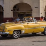 Colorful vintage car waits for tourists in Parque Central _445019053