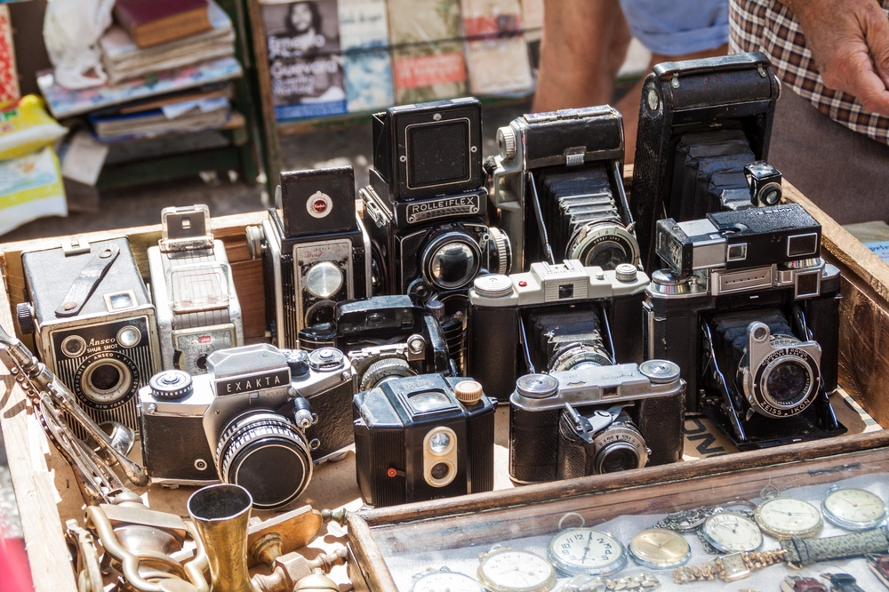 Cameras at a souvenir stall at Plaza de Armas square in Havana_434761600
