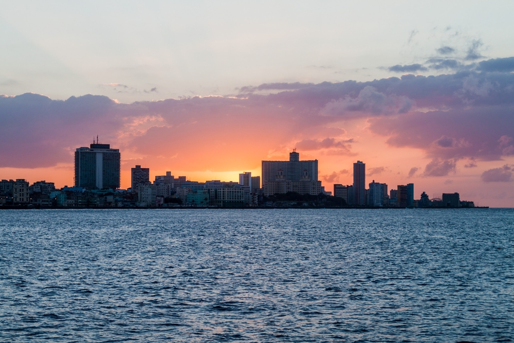 Sunset behind the skyline of Havana_445236649