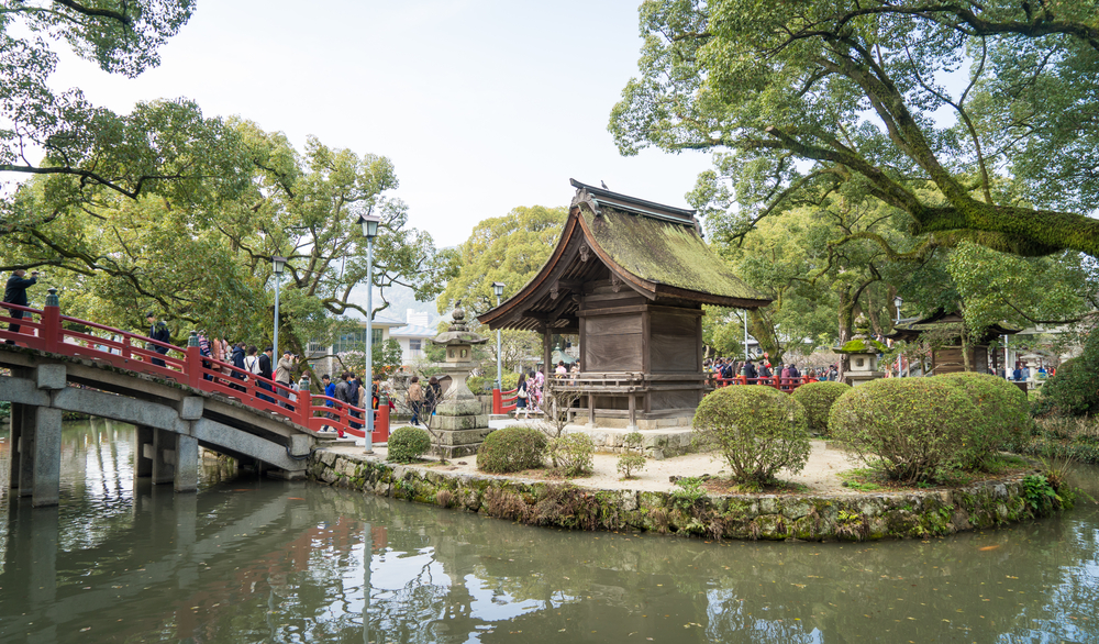 famous red bridge of Dazaifu shrine_417137173