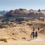 horses near Great pyramid of Giza_415306138