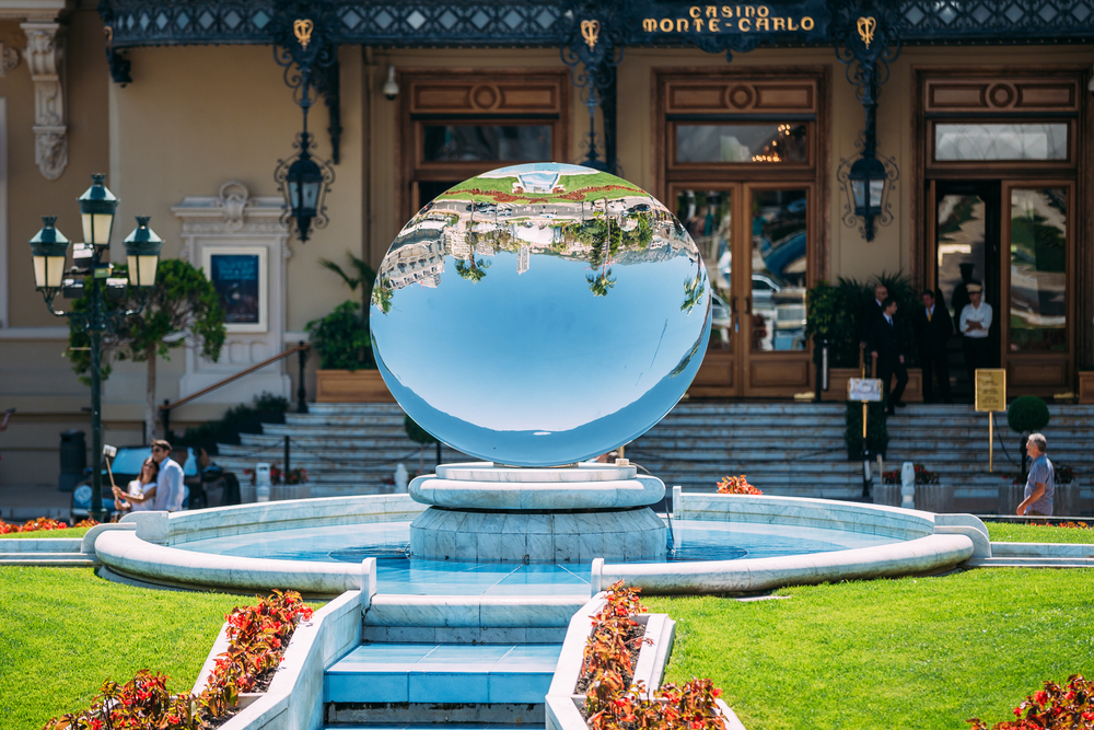 Fountain near Grand casino in Monte Carlo in Monaco_363314492