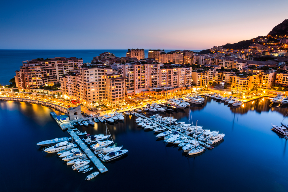 Night view on Fontvieille and Monaco Harbor_211547446