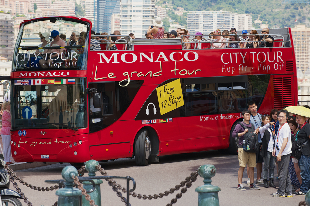 red Monaco city tour bus in Monaco_289485875