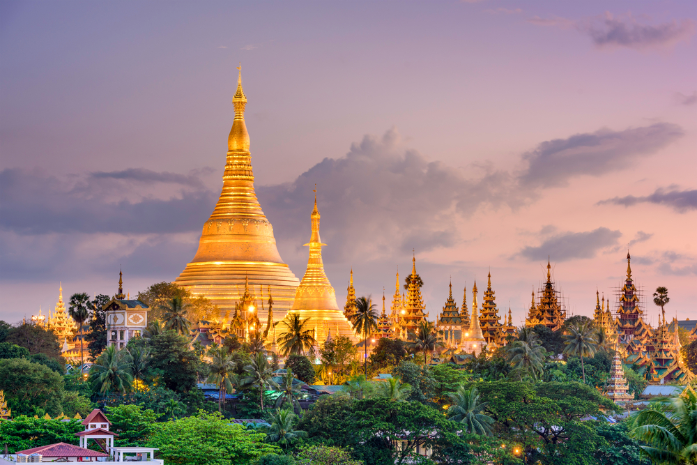 Myanmar view of Shwedagon Pagoda _357032534