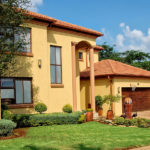 residential area with a green lawn in South Africa_409294255