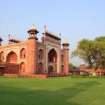 sandstone mosque inside the Taj Mahal complex _453930361