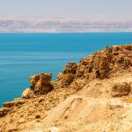 View of Dead Sea coastline in Jordan_479060680