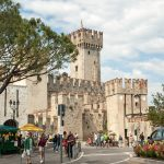 Medieval castle Scaliger in old town Sirmione_561401491