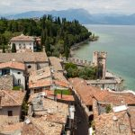 Sirmione and Lake Garda from Scaliger castle wall, Italy_561401431