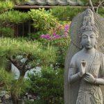 Beautiful stone sculpture of quanyin in Japan_410782912