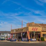 Views of the route 66 decorations in the city of Seligman in Arizona_565502542