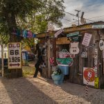 Views of the route 66 decorations in the city of Seligman in Arizona_564223324
