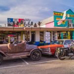Views of the route 66 decorations in the city of Seligman in Arizona_539889844