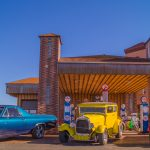 Views of the route 66 decorations in the city of Seligman in Arizona_539185045