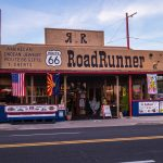 Views of the route 66 decorations in the city of Seligman in Arizona_525758539