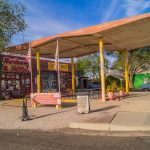 Views of the route 66 decorations in the city of Seligman in Arizona_521487481