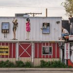 Views of the route 66 decorations in the city of Seligman in Arizona_519818176