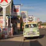 Views of the route 66 decorations in the city of Seligman in Arizona_429969193