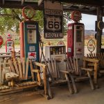 Views of the route 66 decorations in the city of Seligman in Arizona_454121374
