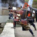 Ancient firelock rifle fighters at Marugame Historical battle Festival_522324526