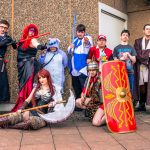 Group of cosplayers posing at the Yorkshire Cosplay Convention at Sheffield Arena_501302347