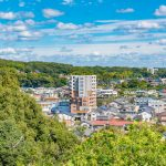 Aerial view of Inuyama City in Aichi_550283158