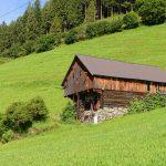 traditional old wooden barn in zillertal alps in tirol austria_579148213