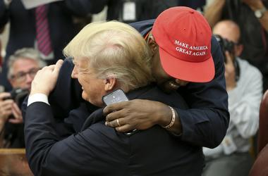 Donald Trump hugs Kanye West