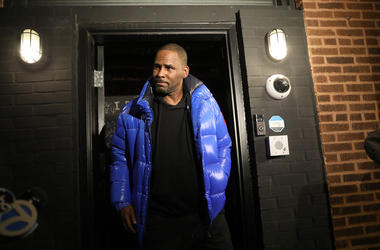 R. Kelly emerges from his Chicago studio on February 22.