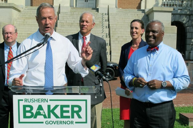 former Gov. Martin O'Malley, front left, endorses Prince George's County Executive Rushern Baker