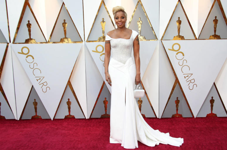 Mary J. Blige arrives at the 90th Academy Awards at Dolby Theatre.