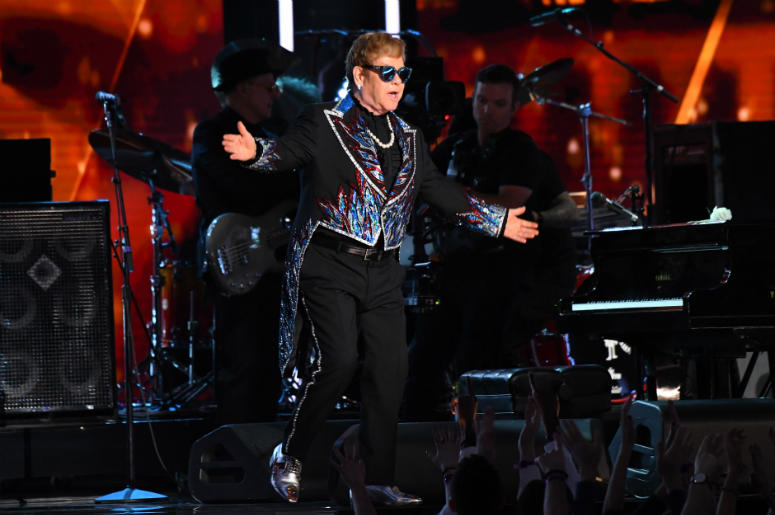 Elton John performs Tiny Dancer during the 60th Annual Grammy Awards