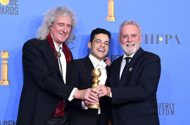 Best Actor in a Motion Picture Drama for 'Bohemian Rhapsody' winner Rami Malek (C) with Brian May and Roger Taylor of Queen pose in the press room during the 76th Annual Golden Globe Awards at The Beverly Hilton Hotel on January 6, 2019 in Beverly Hills,