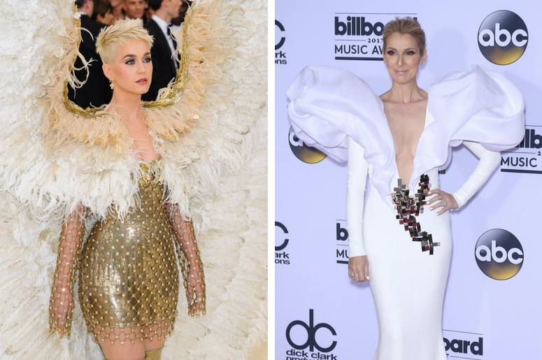 "Katy Perry. 2018 Metropolitan Museum of Art Costume Institute Gala: ""Heavenly Bodies: Fashion and the Catholic Imagination. / Celine Dion. 2017 Billboard Music Awards Press Room at T-Mobile Arena."