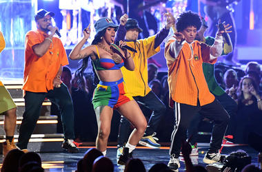 Cardi B and Bruno Mars perform at the 2019 Grammy Awards