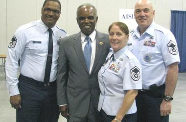 Congressman David Scott , shown with members of the military during a previous jobs fair, is hosting his 16th annual fair .
