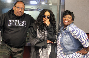 Frank Ski, H.E.R., and Wanda Smith in the V-103 studios in Atlanta, November 9, 2018