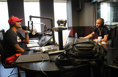Big Tigger interviews T.I. in the studios of V-103 in Atlanta