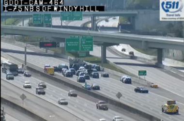 Georgia Department of Transportation cameras capture the standoff on I-75 in Cobb County