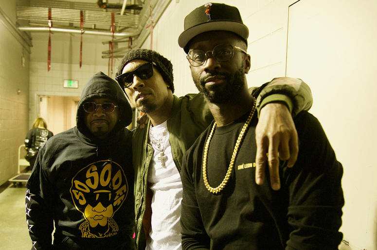 Jermaine Dupri, Dallas Austin and Bryan-Michael Cox backstage at State Farm Arena